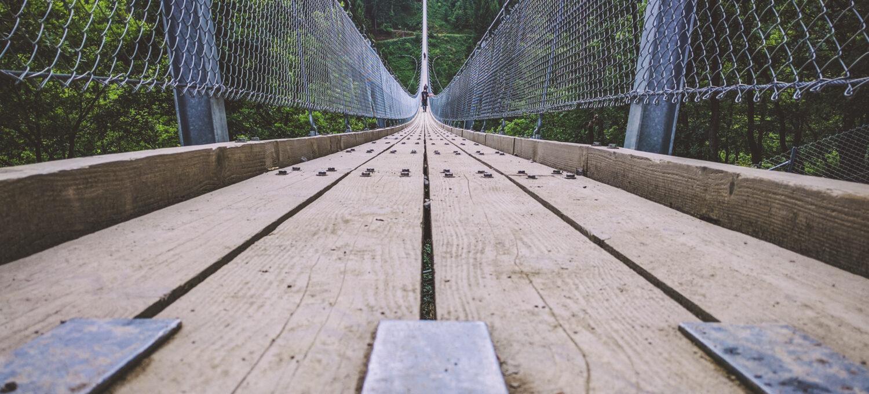 Blick die Hängeseilbrücke über die Geierlay hinab, fotografiert aus der Froschperspektive